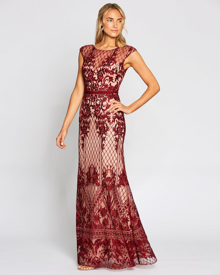 Wine Crochet Formal Long Dress