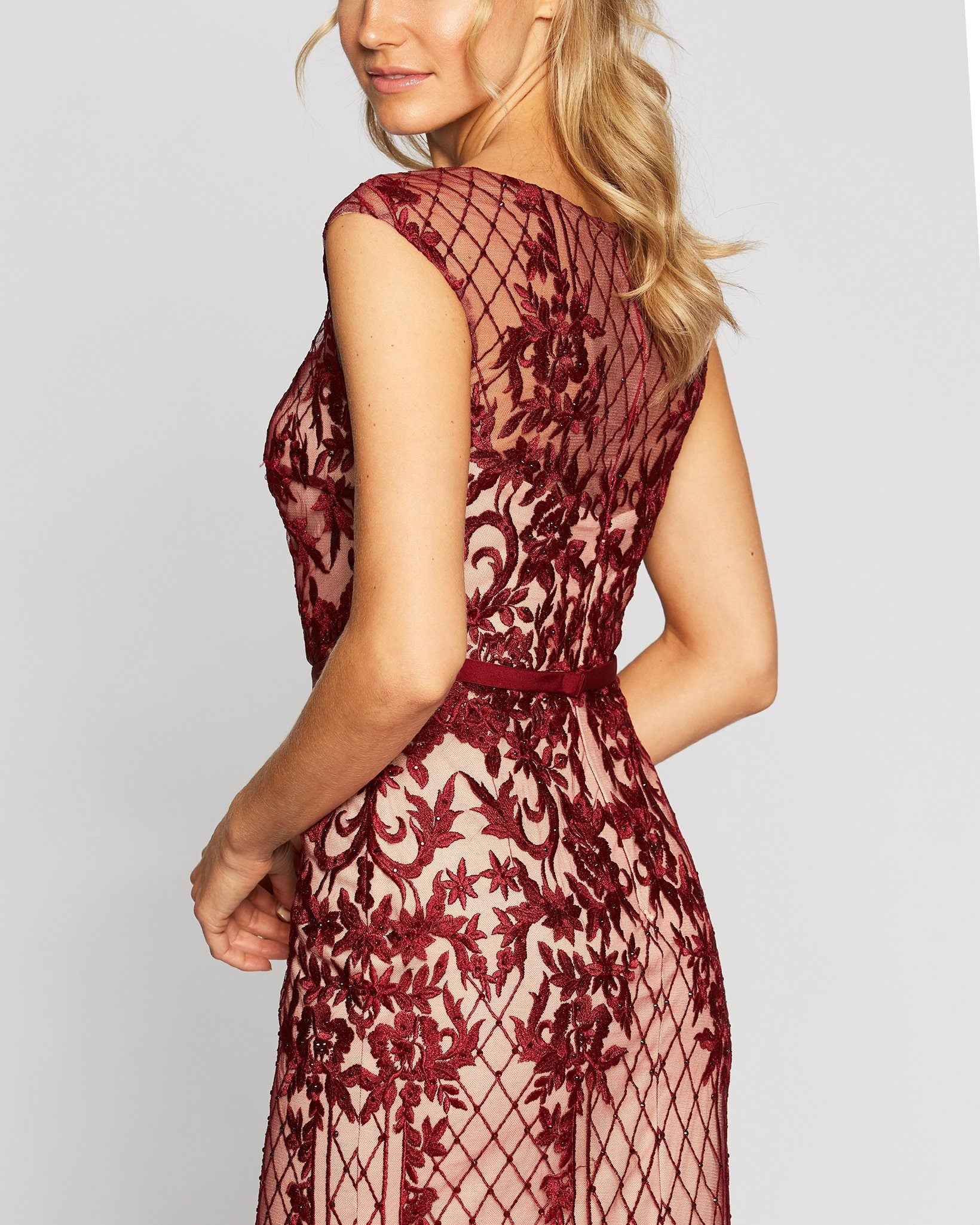 Wine Crochet Formal Crochet Long Dress