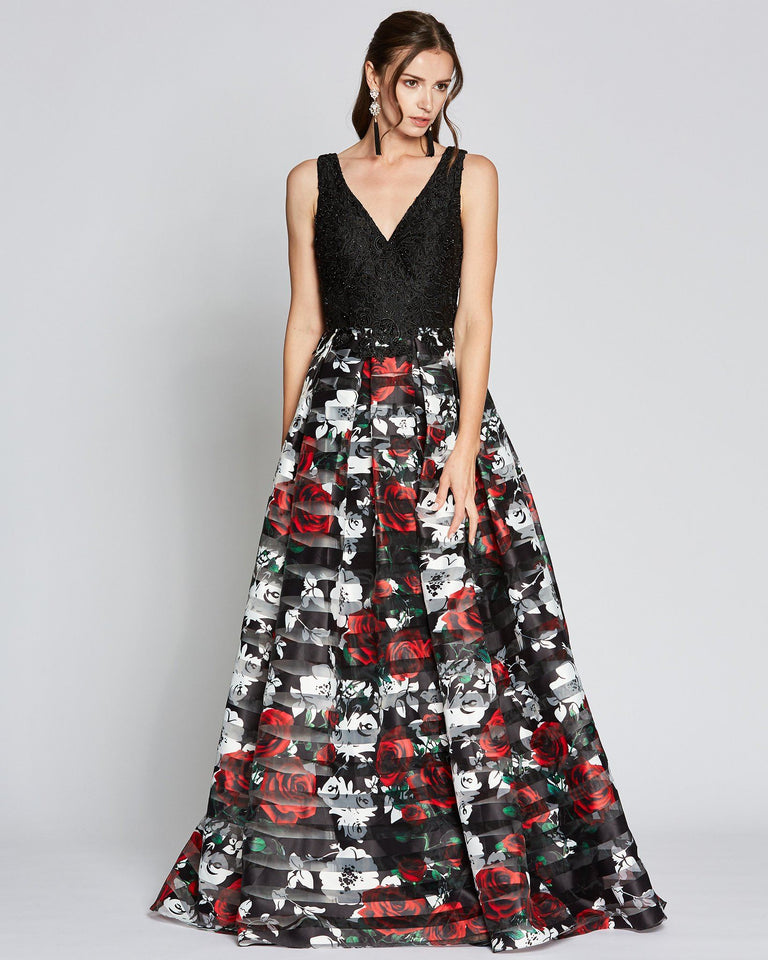 Black Floral Print Ball Gown