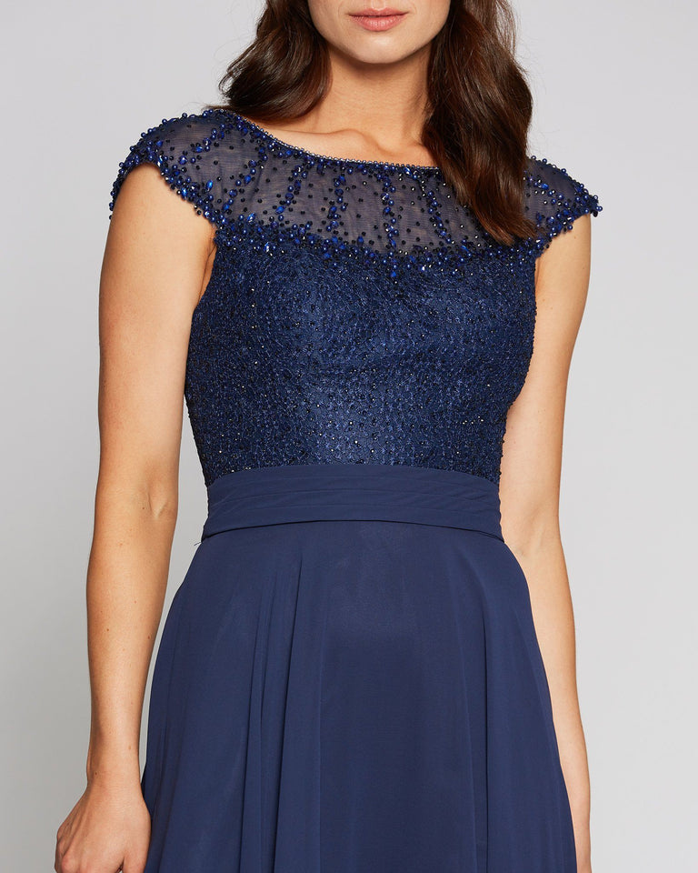 Navy Cap Sleeve Chiffon Dress