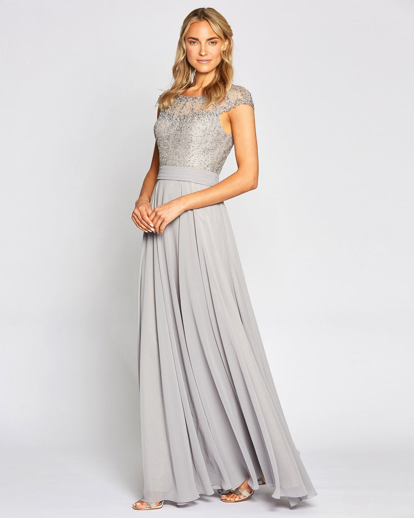 Long Skirt Grey Graduation Dress