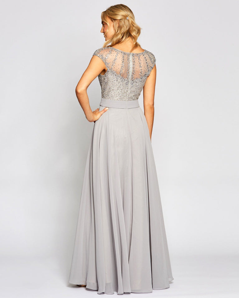Grey Cap Sleeve Chiffon Dress