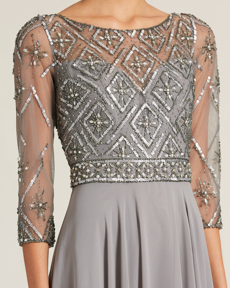 Grey Top Embellished Evening Gown