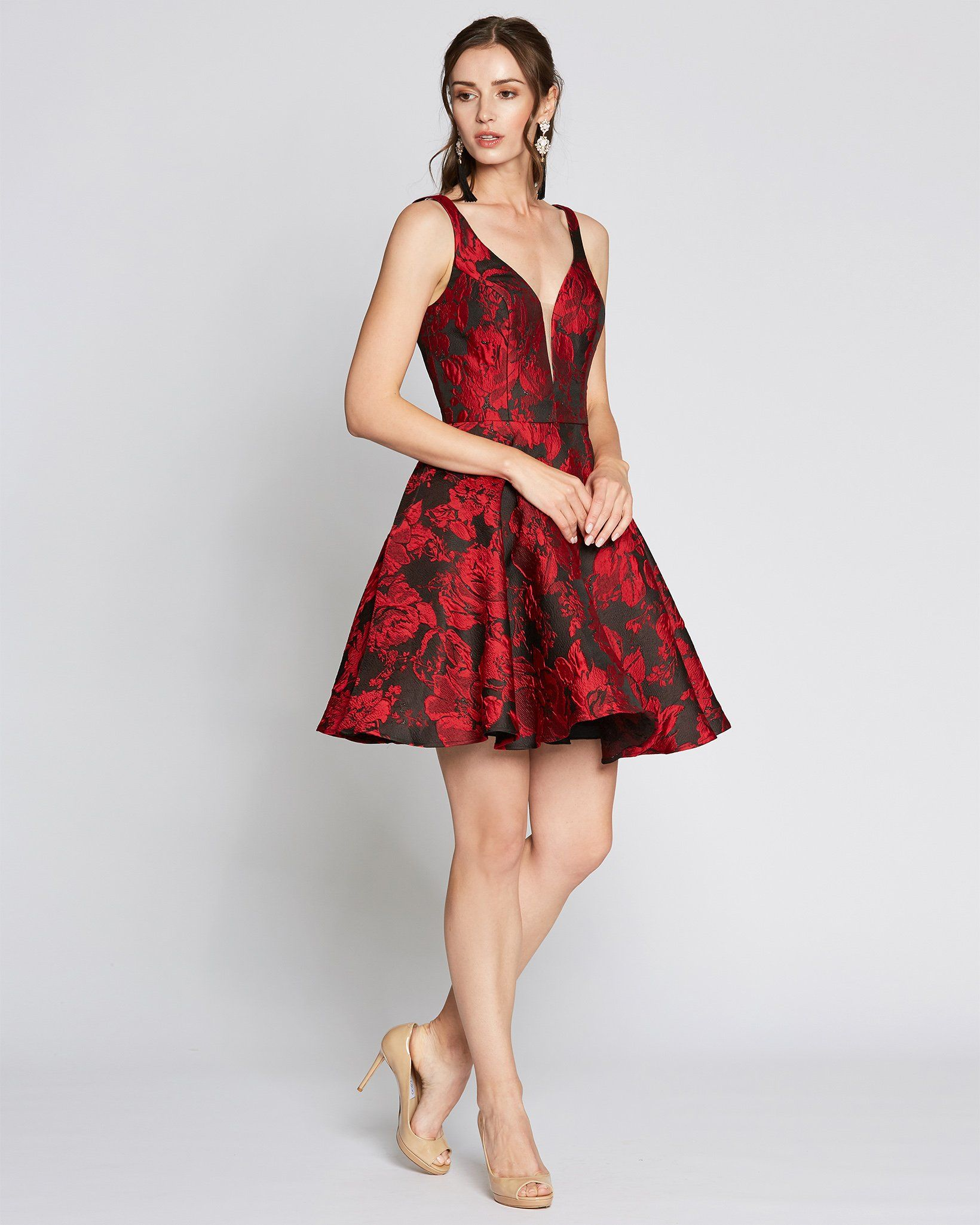 Red Print Sleeveless Tea Length Dress