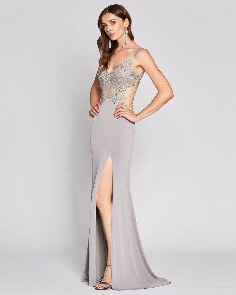 Silver, Long Length with Slit Dress