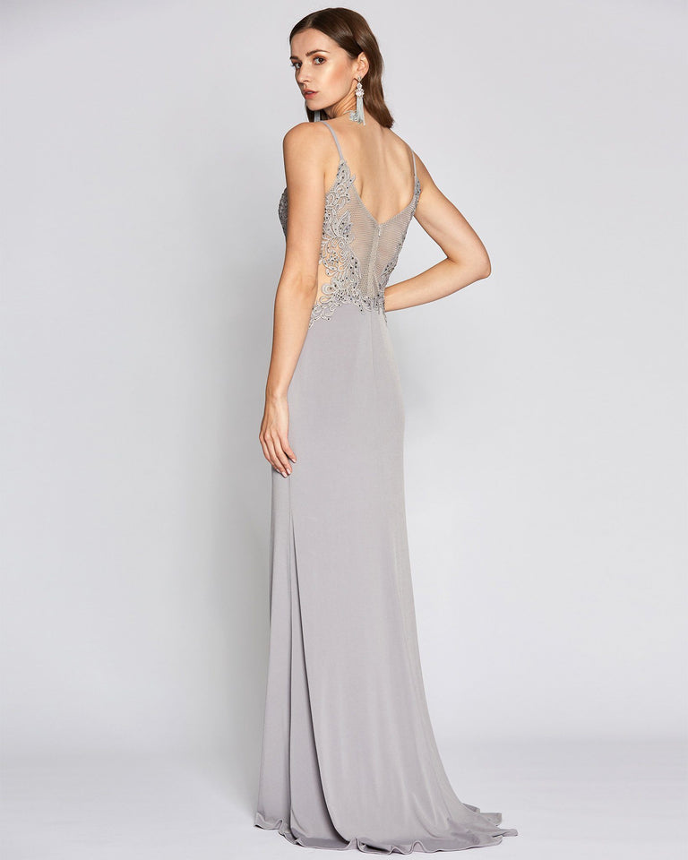 Grey Sheer Top Long Dress