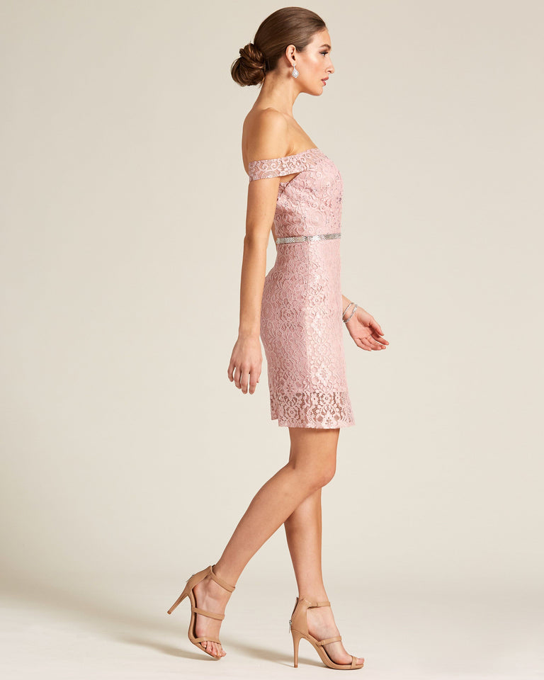 Rose Off Shoulder Sheath Dress