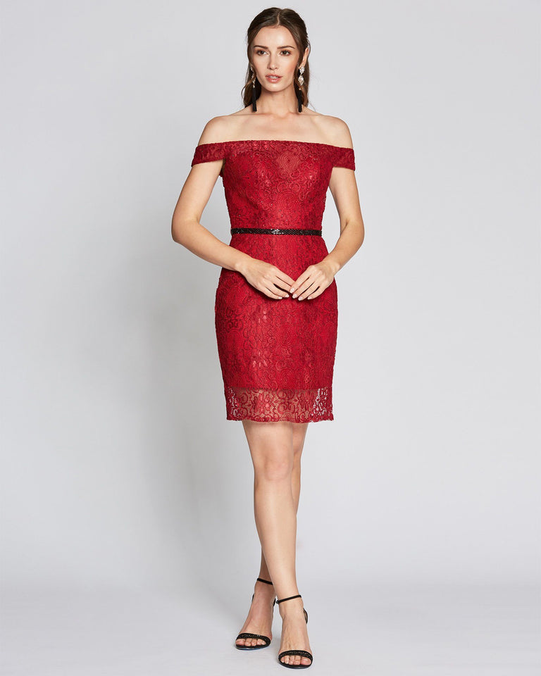 Wine Off Shoulder Sheath Dress
