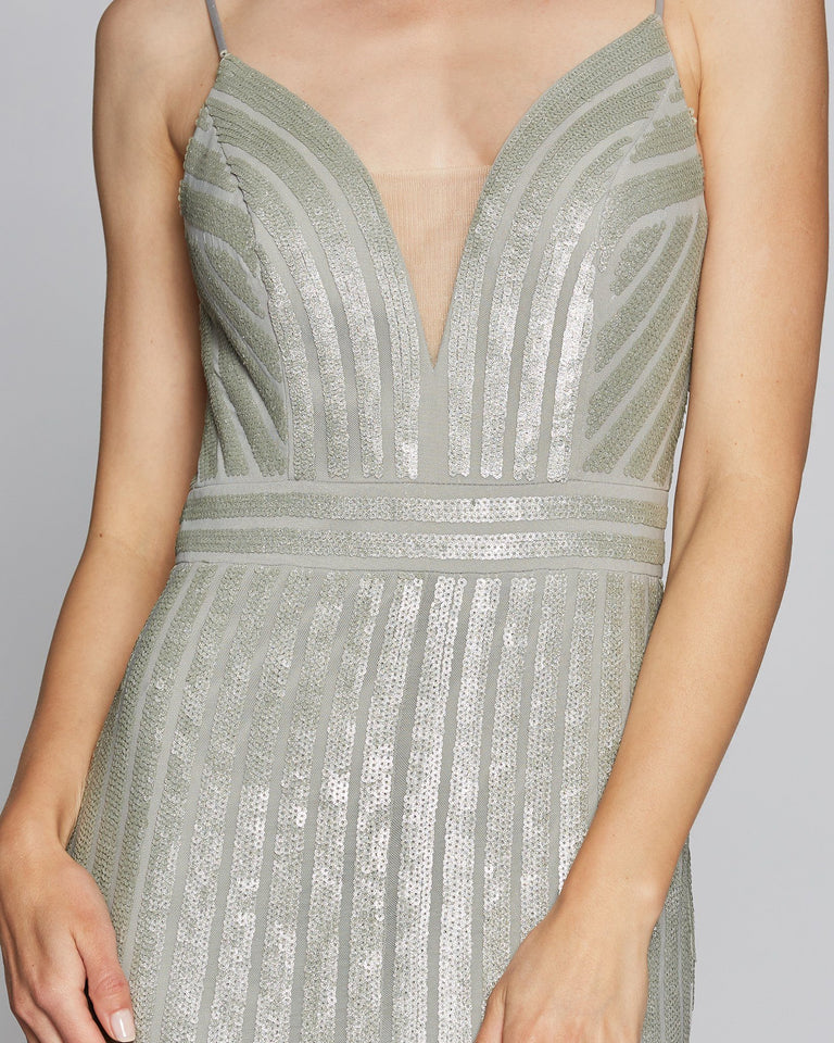 Silver Plunging V Neck Dress