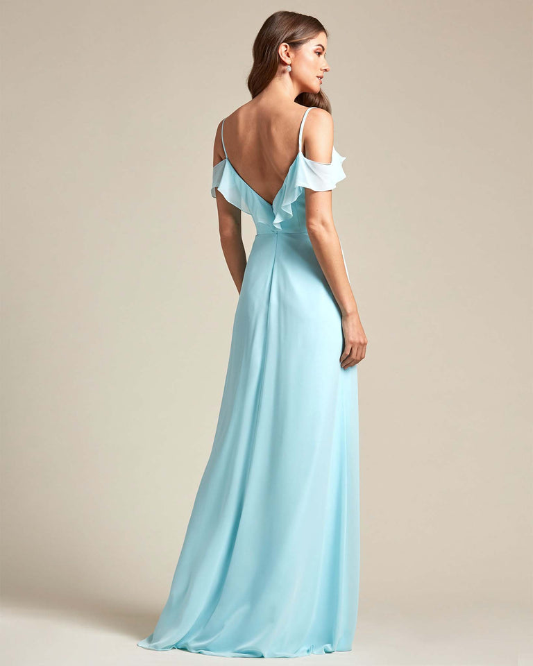 Turquoise Flounder Top With Over The Shoulder Sleeves Bridesmaid Gown