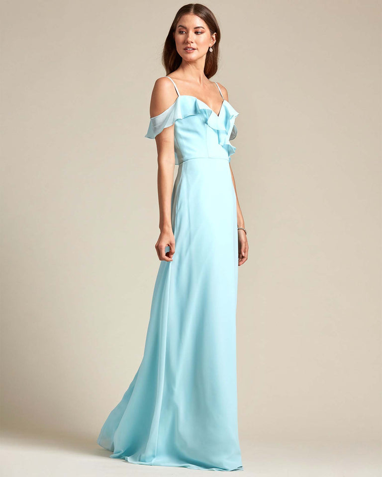Dusty Blue Flounder Top With Over The Shoulder Sleeves Bridesmaid Gown