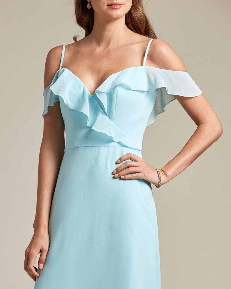 Dusty Rose Flounder Top With Over The Shoulder Sleeves Bridesmaid Gown