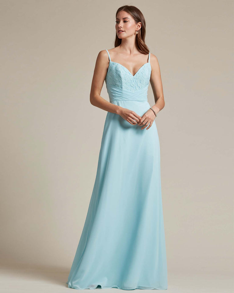 Blue Glow Classic Sweetheart Shaped Top Formal Dress With Long Length Skirt