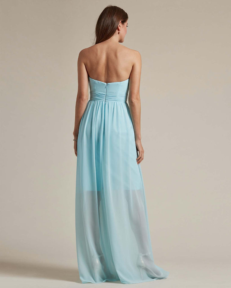 Blue Glow Sleeveless Sweetheart Shaped Bridesmaid Gown With Sheer Maxi Skirt