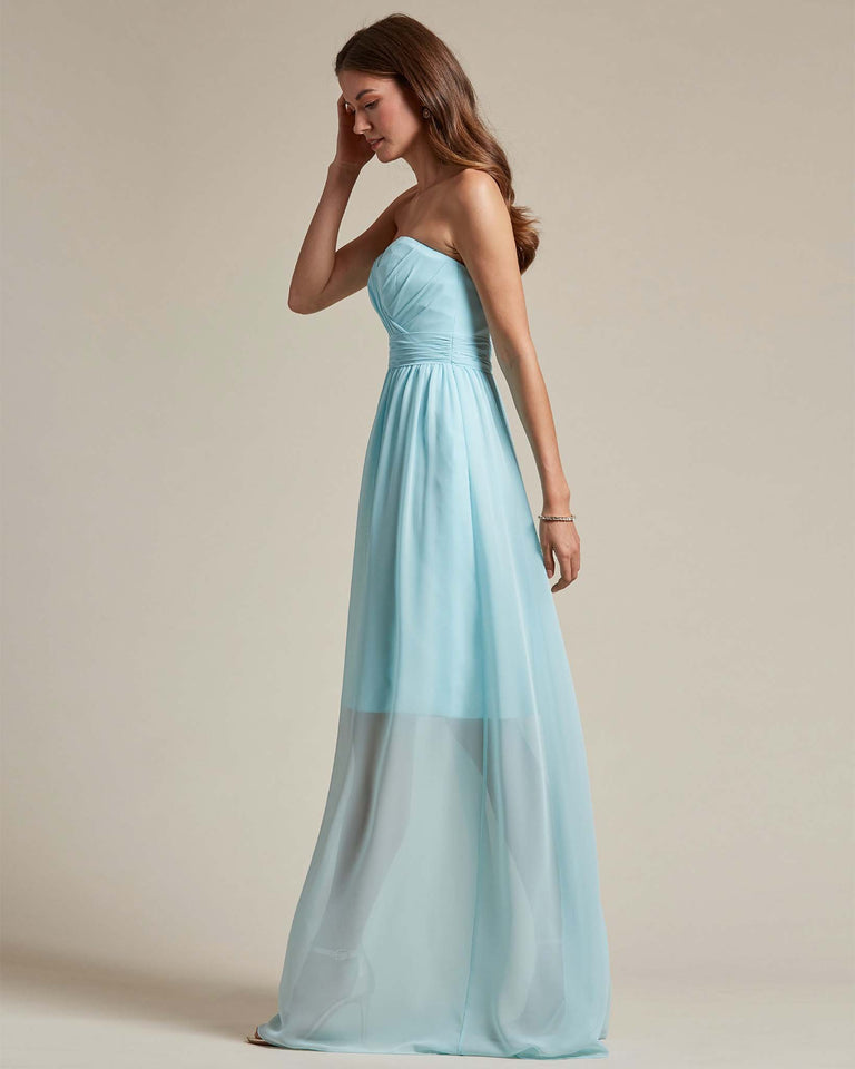 Peach Sleeveless Sweetheart Shaped Bridesmaid Gown With Sheer Maxi Skirt