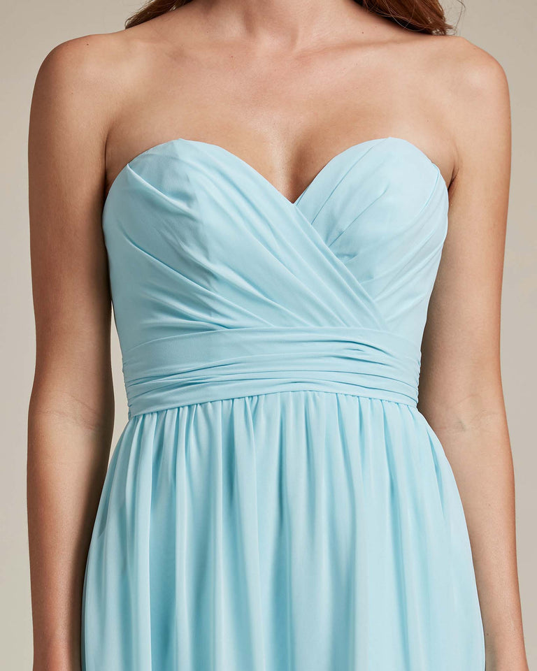 Ocean Blue Sleeveless Sweetheart Shaped Bridesmaid Gown With Sheer Maxi Skirt