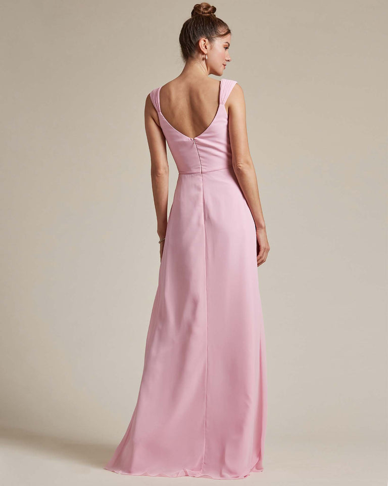 Flamingo Pink Sweetheart Neckline Long Length Skirt Bridesmaid Dress