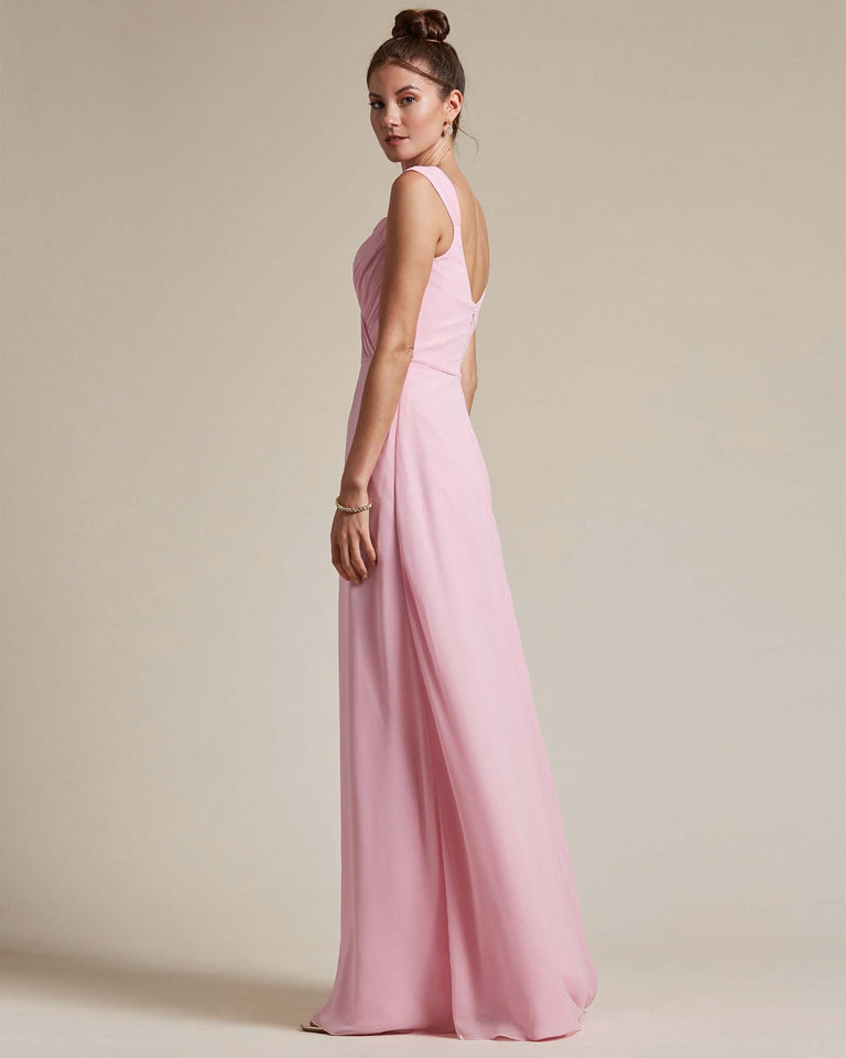Watermelon Sweetheart Neckline Long Length Skirt Bridesmaid Dress