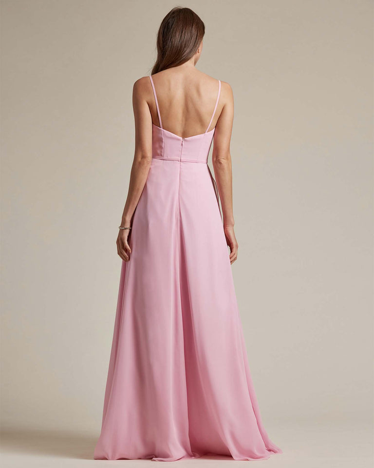 Watermelon Plunging V Neck Top With Layered Skirt Bridesmaid Dress