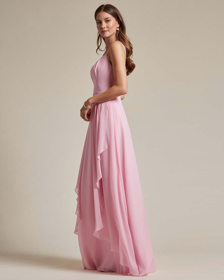 Vintage Mauve Plunging V Neck Top With Layered Skirt Bridesmaid Dress