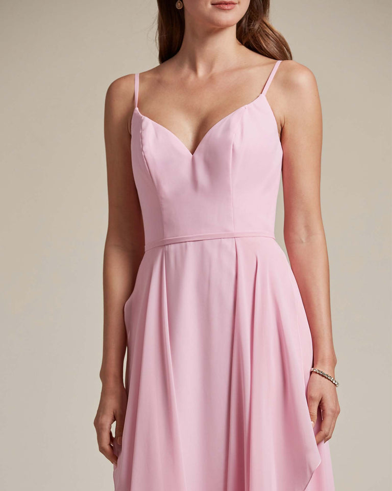 Blushing Pink Plunging V Neck Top With Layered Skirt Bridesmaid Dress