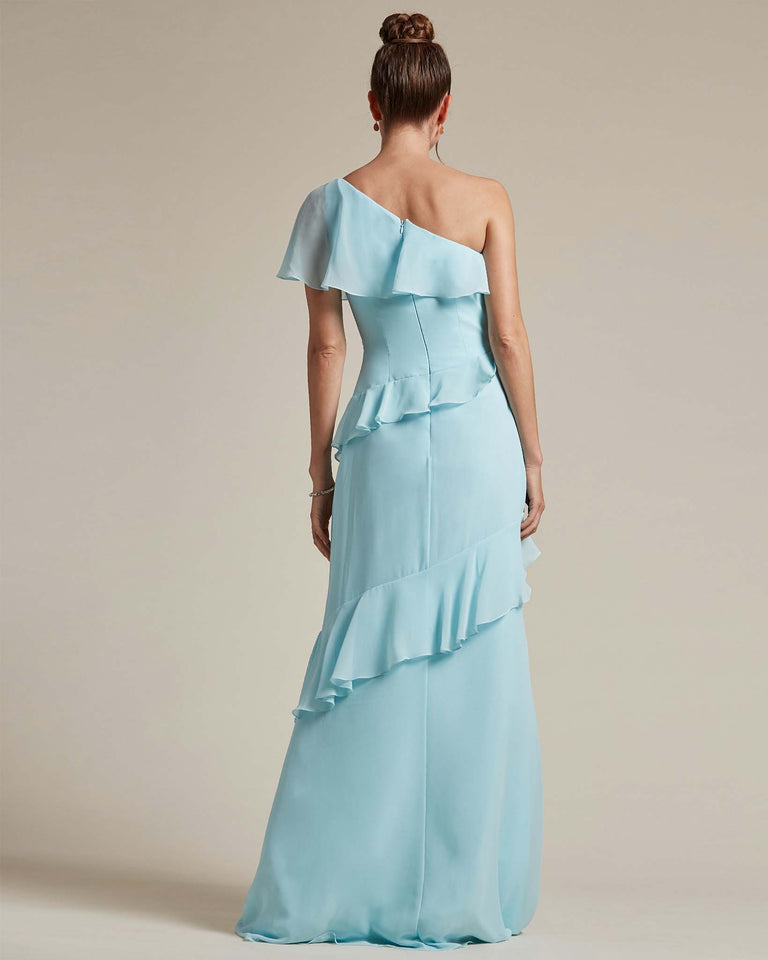 Frost Asymmetrical Flounder Top With A Multi-Layered Skirt Formal Gown