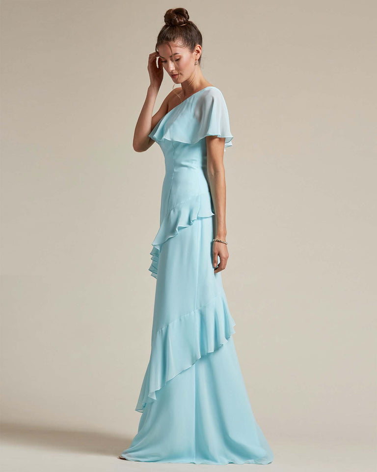 Ocean Blue Asymmetrical Flounder Top With A Multi-Layered Skirt Formal Gown