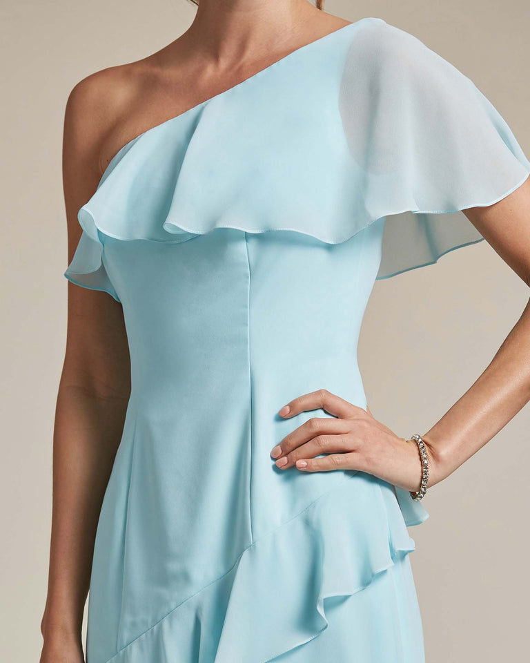 Blue Glow Asymmetrical Flounder Top With A Multi-Layered Skirt Formal Gown