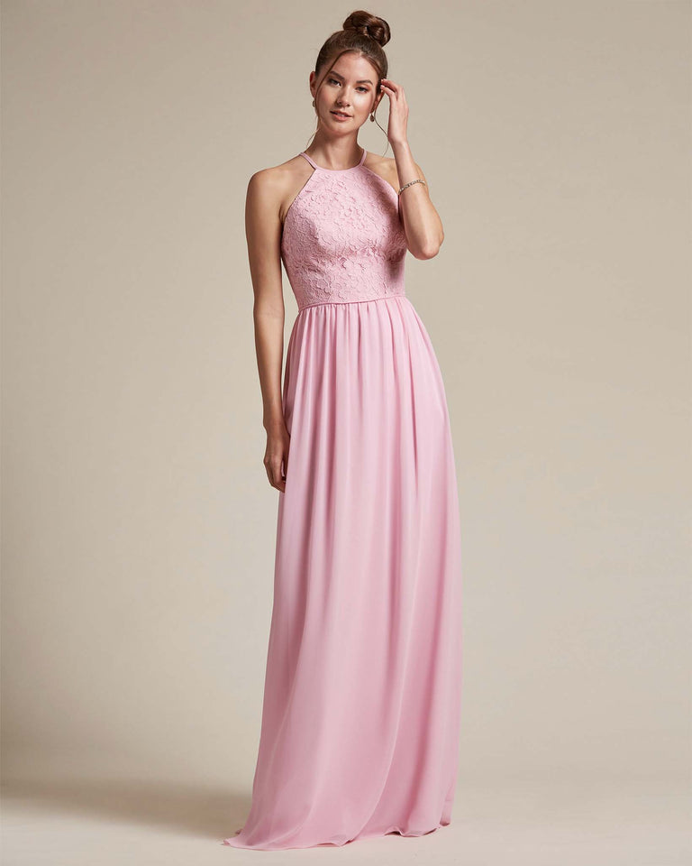 Cherry Blossom Embroidered Floral Bridesmaid Gown With Racerback Design