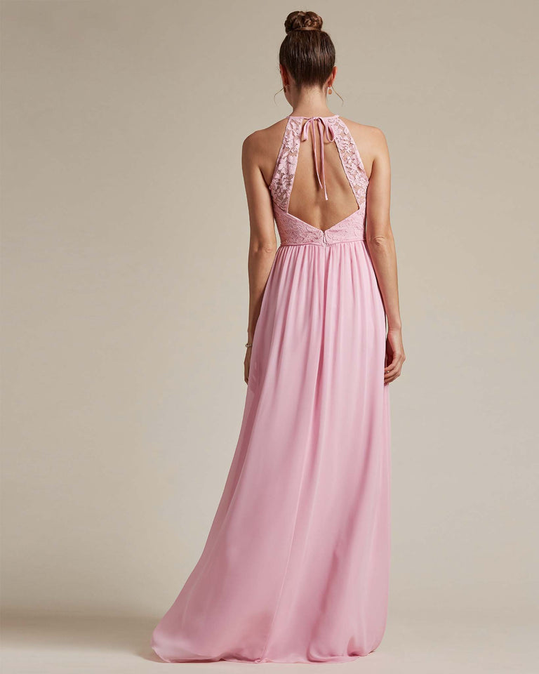 Dusty Rose Embroidered Floral Bridesmaid Gown With Racerback Design