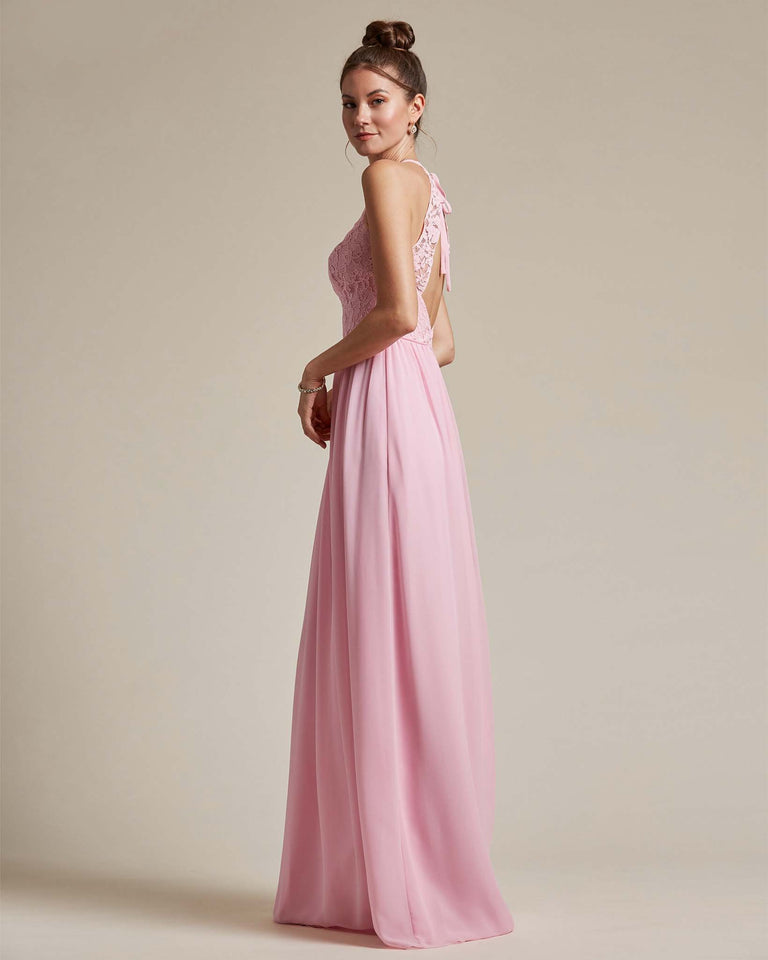 Flamingo Pink Embroidered Floral Bridesmaid Gown With Racerback Design