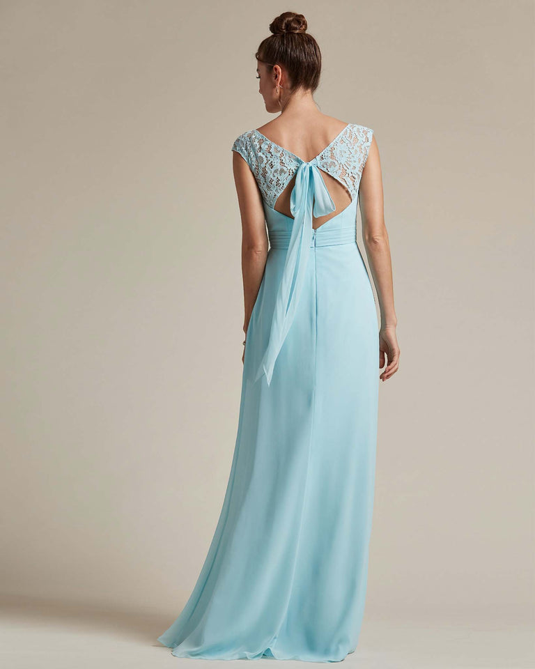 Pool Sweetheart Embroidered Top With Cut Out Back Design Bridesmaid Gown