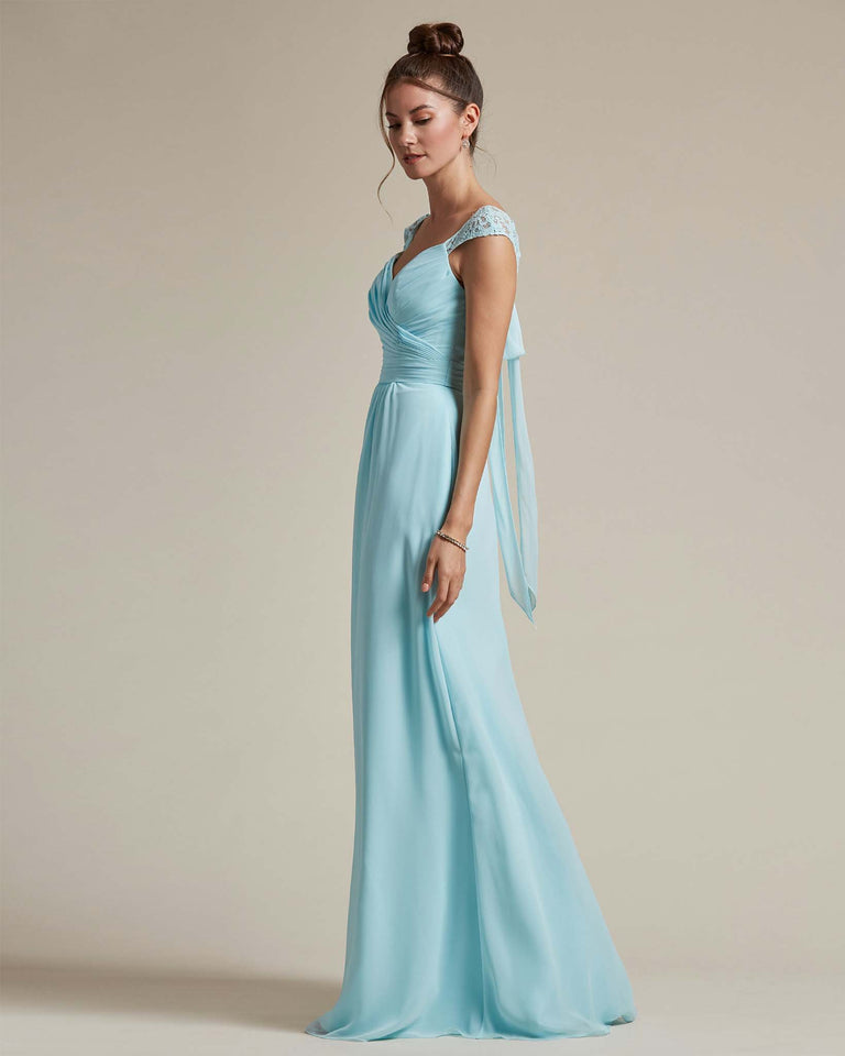 Celadon Sweetheart Embroidered Top With Cut Out Back Design Bridesmaid Gown