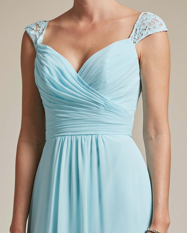 Blue Glow Sweetheart Embroidered Top With Cut Out Back Design Bridesmaid Gown