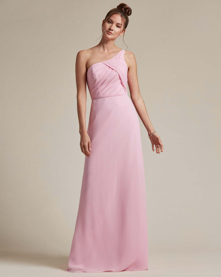 Cherry Blossom Asymmetrical Ruched Design Top Long Skirt Bridesmaid Dress