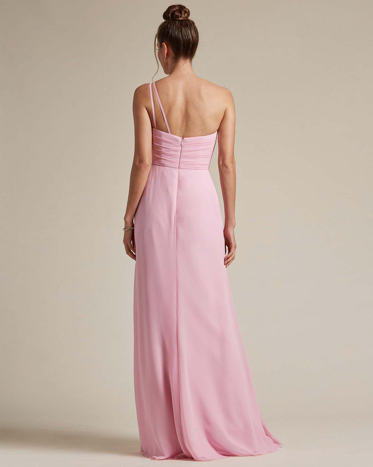 Dusty Rose Asymmetrical Ruched Design Top Long Skirt Bridesmaid Dress