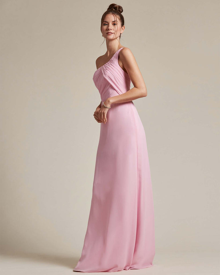 Champagne Asymmetrical Ruched Design Top Long Skirt Bridesmaid Dress