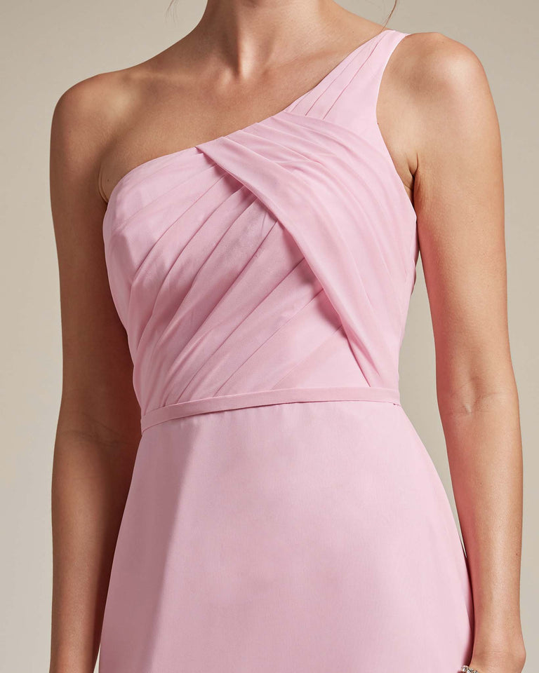 Candy Pink Asymmetrical Ruched Design Top Long Skirt Bridesmaid Dress