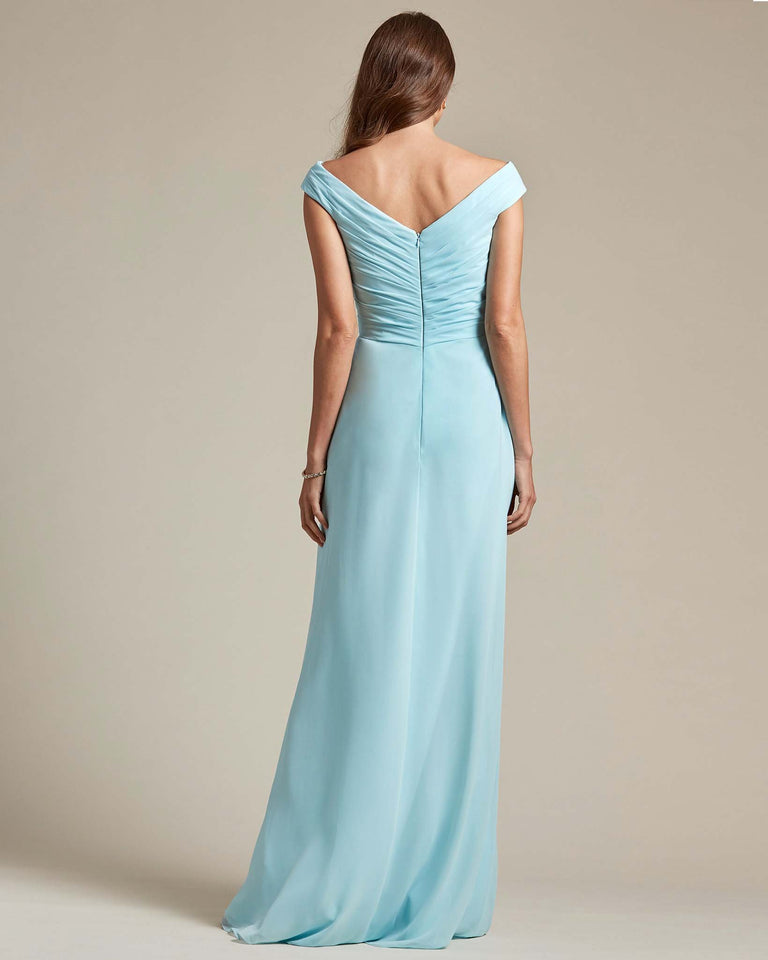 Blue Glow Off The Shoulder Ruched Top With Long Skirt Bridesmaid Gown