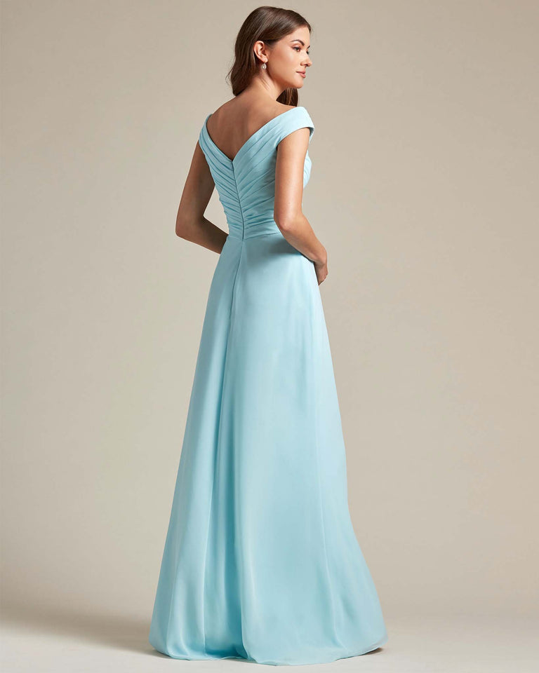 Ocean Blue Off The Shoulder Ruched Top With Long Skirt Bridesmaid Gown