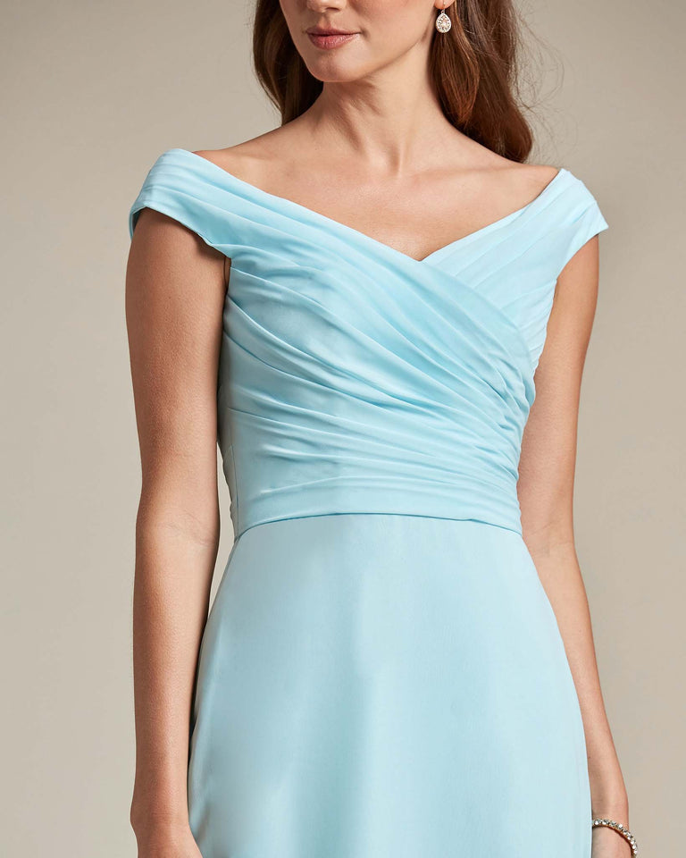 Ink Blue Off The Shoulder Ruched Top With Long Skirt Bridesmaid Gown