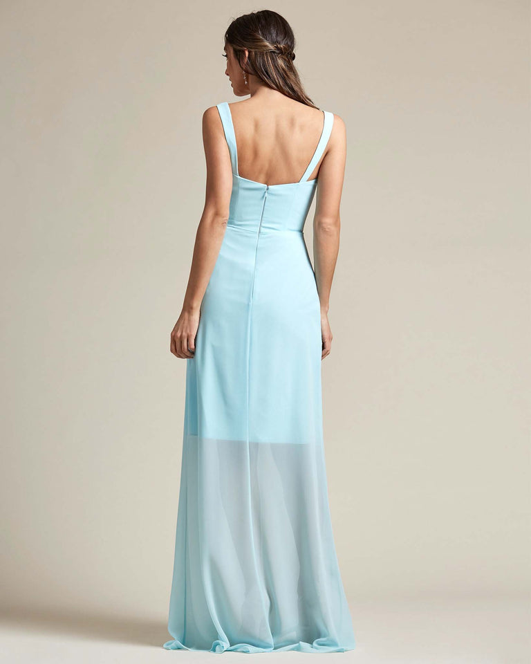 Turquoise Thick Spaghetti Strap Bridesmaid Dress With Sheer Maxi Skirt