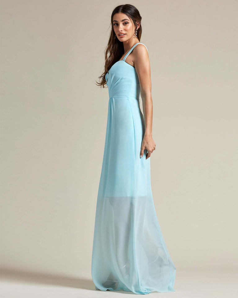 Daffodil Thick Spaghetti Strap Bridesmaid Dress With Sheer Maxi Skirt