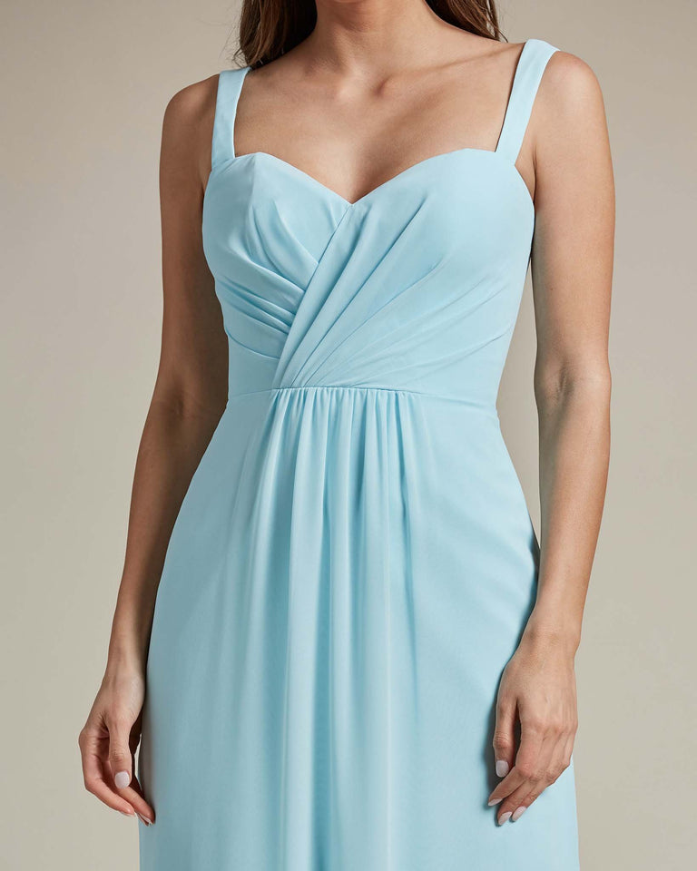 Blue Glow Thick Spaghetti Strap Bridesmaid Dress With Sheer Maxi Skirt