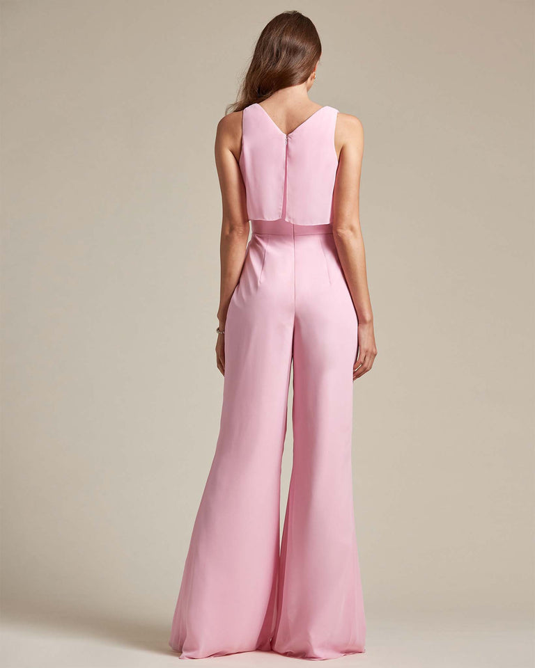 Watermelon Flowy Top With Flare Wide Leg Bridesmaid Jumpsuit