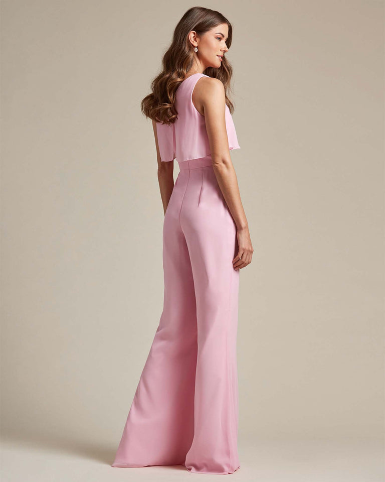 Passion Flowy Top With Flare Wide Leg Bridesmaid Jumpsuit