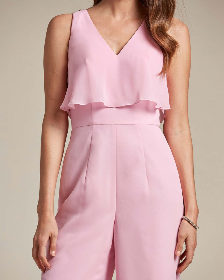 Peach Flowy Top With Flare Wide Leg Bridesmaid Jumpsuit