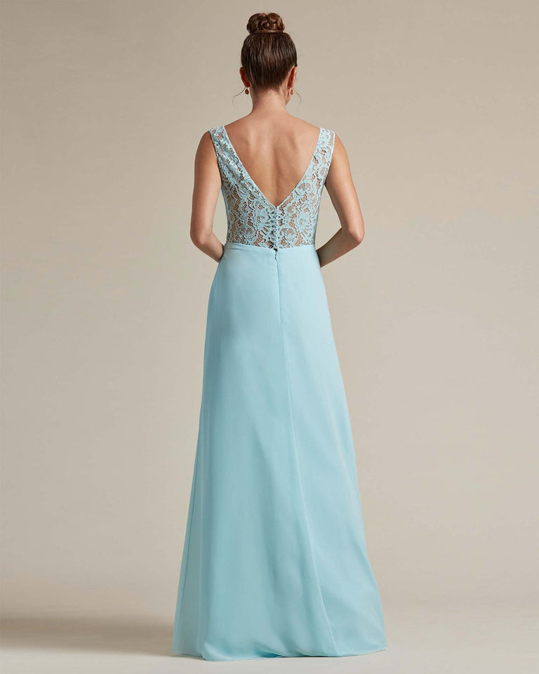 Turquoise Sexy Slit Skirt With Embroidered Top Bridesmaid Gown