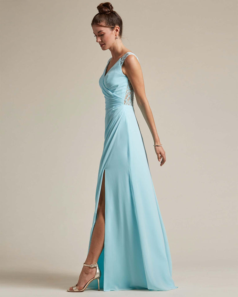 Papaya Sexy Slit Skirt With Embroidered Top Bridesmaid Gown