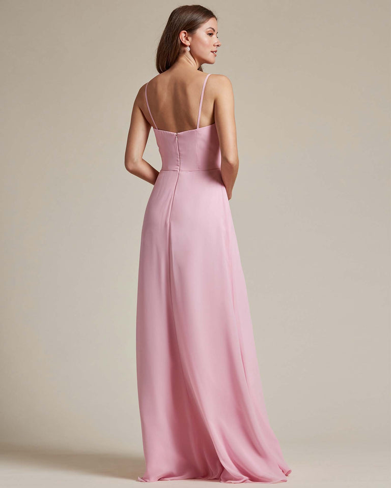 Paradise Sage Flowy Top Spaghetti Strap Bridesmaid Gown With Ruched Skirt